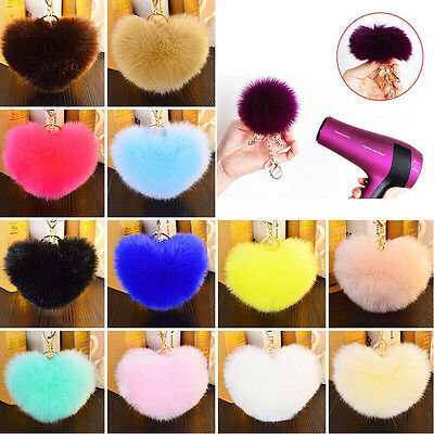 NEW Rabbit Fur Heart Ball PomPom Charm Car Keychain Handbag Pendant Key Ring
