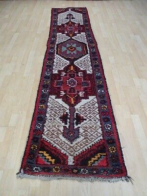 """PERSIAN HALL RUNNER RUG CARPET Wool HAND MADE Vintage ANTIQUE 9FT 4"""" X 2FT 4"""""""