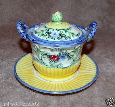 Marutomoware Vintage Japanese Pottery Lidded Sugar Bowl With Underplate