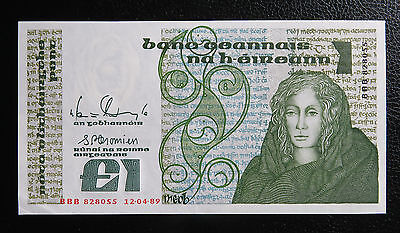 BBB aUNC 1989 Replacement Ireland 1 Pound Banknote Pick#70b