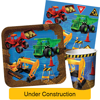 UNDER CONSTRUCTION Birthday Party Range - JCB Digger Tableware & Decorations