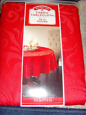 "NEW Valentine's Day Red Scrolls 70"" round tablecloth polyester party chic NWT"