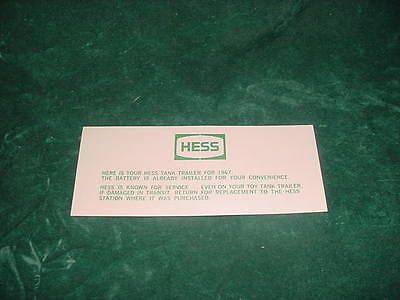 Father's Day!! Replacement Parts 1967 Hess Battery Card Toy Trucks  Collectibles
