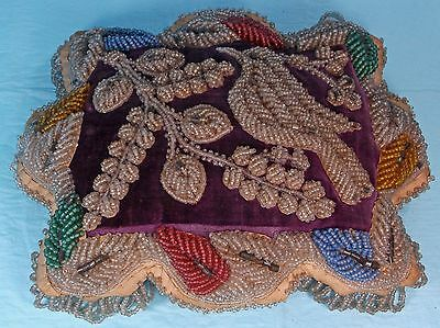 Large Antique Handmade Beaded Pin Cushion Whimsey