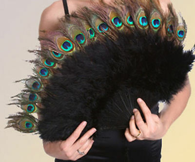 "Marabou Fan w Peacock Eyes 15x27"" BLACK Burlesque Costume Halloween Theater"