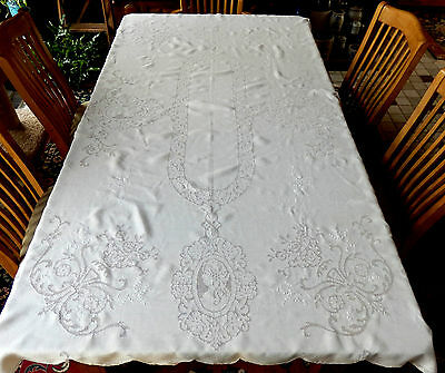 ANTIQUE HANDMADE TABLECLOTH -  FIGURAL CUTWORK - LADIES and FLOWERS