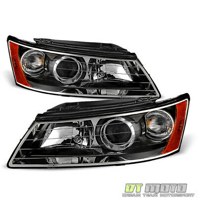 For 2006-2008 Sonata Headlights Black Headlamps Left+Right Aftermarket 06 07 08