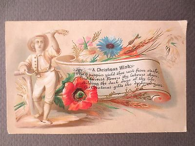 Antique CHRISTMAS Card Country Man Poppy Wild Flowers Victorian Chromo Litho
