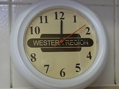 A wall clock with railway sign (totem) personalised to your choice great gift