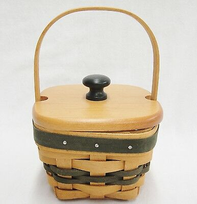"""Longaberger Lucky You Shamrock Basket with Lid 1999 Green Accent 3"""" Fixed Handle"""