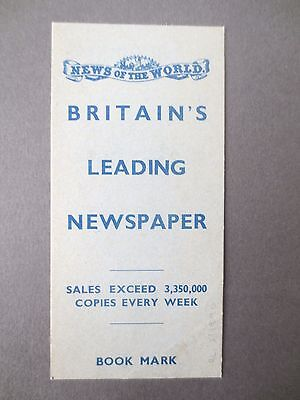 Vintage BOOKMARK NEWS OF THE WORLD Newspaper Interest to Ladies ADVERTISING OLD