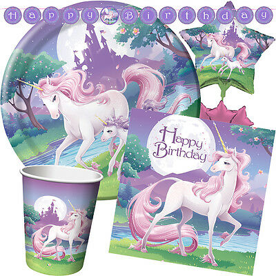 UNICORN FANTASY Birthday Party Range - Girl Tableware Balloons & Decorations