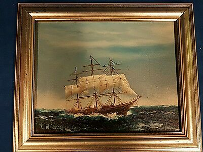 Small Framed Original Oil Painting Of A Sailing Ship Signed Lingson. Nautical