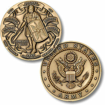 U.S. Army - Armor of God - High Relief Bronze Challenge Coin NEW