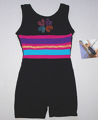 Nwt New Moret Tank Biketard Unitard Black Colorful Butterfly Stud Cute Nice Girl