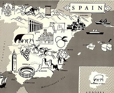 Vintage 1960s SPAIN Map Fun and Funky Picture Map of Spain 3432