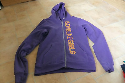 Purple 'Boys Like Girls' Hoody/Hooded Top - Size Small - American Apparel