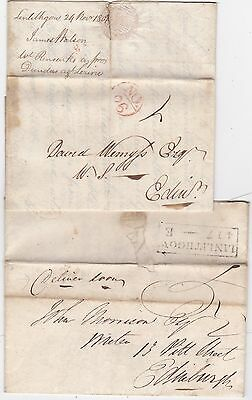 1801 Bishopmark & 1823 Boxed Mileage Both Linlithgow Letters To Edinburgh