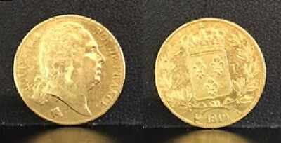 France 20 GOLD Francs1819-A DEPICTS KING LOUIS 18th--A beautiful high grade coin