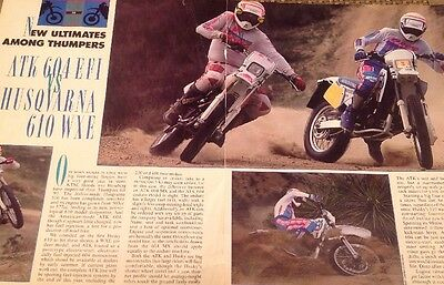 4 Pages Race Test Article For 1991 ATK EFI 604 Vs Husqvarna 610 WXE Thumpers
