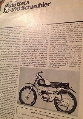 3 Pages Road//TrackTest Report 1969 Moto. Beta XC-100 Motocrosser