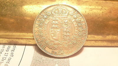 Great Britain 1890 Queen Victoria Sterling Silver Half Crown Coin