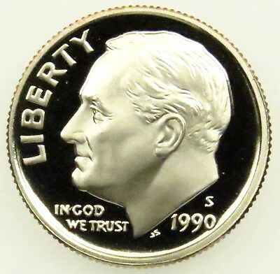 1990 S Deep Cameo Proof Roosevelt Dime (B01)