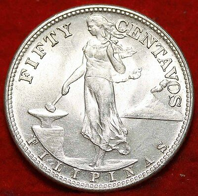 Uncirculated 1944-S Philippines 50 Centavos Silver Foreign Coin Free S/H