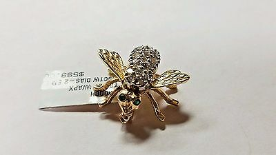 14 K Gold Fine Diamond Bee with emerald eyes Pin Brooch