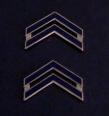 """CPL Corporal Chevron BLUE ENAMEL/Silver  1"""" Large Collar Pins NEW ENGLAND STYLE"""