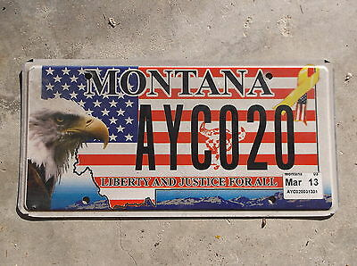 Montana Liberty and Justice Bald Eagle License Plate  #  AYC 020