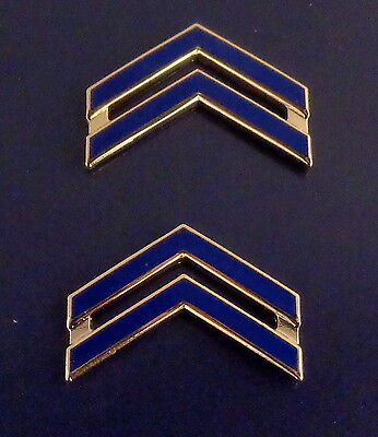 """CPL Corporal Chevron BLUE ENAMEL/Gold  1"""" Large Collar Pins NEW ENGLAND STYLE"""