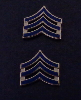 "NEW ENGLAND Sergeant SGT Chevron BLUE ENAMEL Silver Pair Collar Pins 3/4"" SMALL"