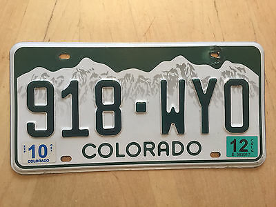 "Colorado 2012 Auto License Plate "" 918 Wyo "" Co 12 Wyoming State Abbreviation Wy"