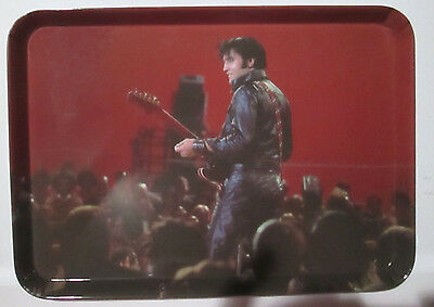 """Elvis Presley In Black Leather 68 Special Come Back Melmac Serving Tray 8.5""""x12"""""""