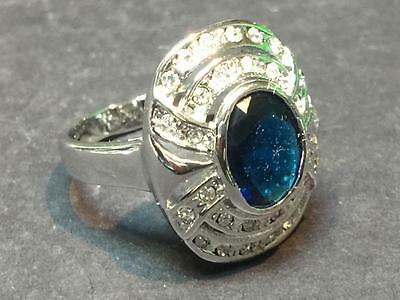 Vintage Sterling Silver , Blue Chrystal and Rhinestone Ring - Size 8 1/2