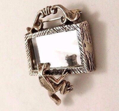 Whimsical Frog With Mirror Sterling Silver Brooch Pin