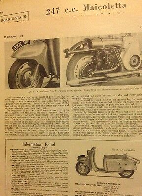 Interesting 2 Pages Road Test On 1956-57 Maicoletta 250 Scooter Motorcycle