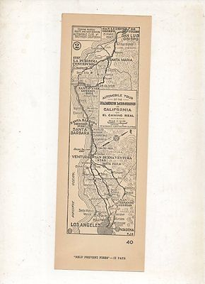 1920's? Automobile Club Strip Map California Famous Missions on El Camino Real