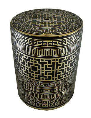 Gold and Black Finish Ceramic Greek Key Design Accent Stool/Table 17 Inch