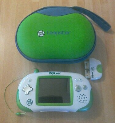 Green Leapfrog Leapster Explorer with official case and stylus