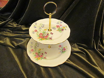 Lovely Vintage Queen Anne China Plated 2 Tier Cake Stand Old Country Sprays