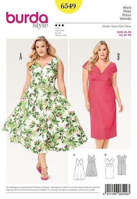 Burda Sewing Pattern Misses' Dresses To Accent A Pretty Waist Size 20-30 6549