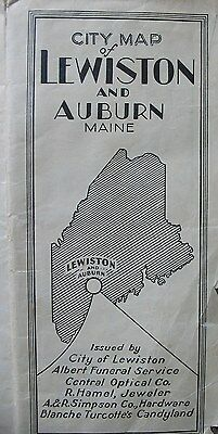Vintage 1937 Map Lewiston and Auburn Maine & Newspaper Clipping From Augusta