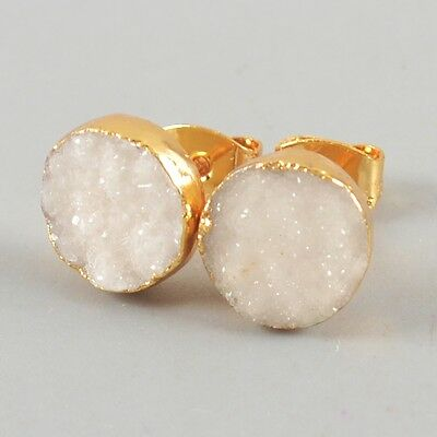 10mm Round Natural Agate Druzy Geode Stud Earrings Gold Plated H82612