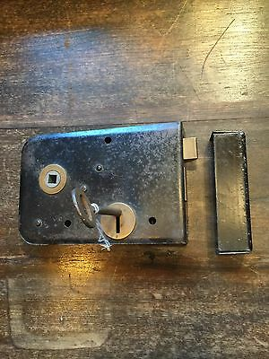 Old Heavy Duty Door Lock And Key Industrial Salvage No Reserve British Quality