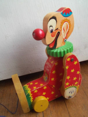 VINTAGE 1960s wood decal SQUEAKY circus CLOWN retro PULL STRING toy gift 777