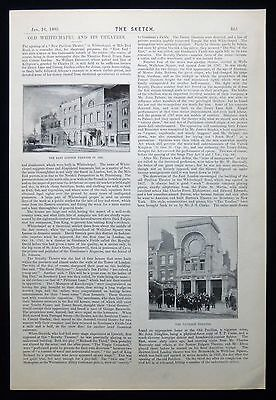 OLD WHITECHAPEL THEATRES THEATRE EAST END OF LONDON 1pp VICTORIAN ARTICLE 1895