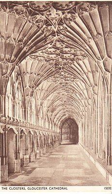 Gloucester Cathedral - Cloisters - old post card