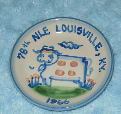 1966 M.A. Hadley Pottery Mini Cow Plate Louisville KY 78th NLE VGC Free US Ship
